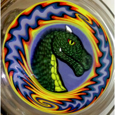 Revere Glass Worked Dragon Pipe.