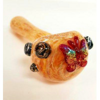 Hand Pipe by Empire Glassworks. Glittery Butterfly.