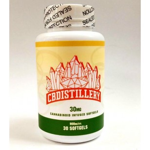 CBDISTILLERY 30mg Softgels.  900mg Bottle.  Available in Store or Call to Order.