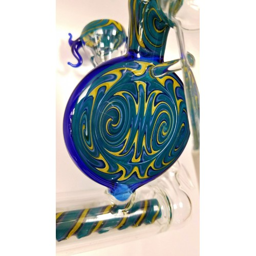 Ash Catcher with Pattern Glass Pipe - Chameleon Glass