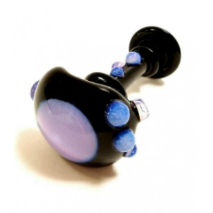 Hand Pipe by Multiverse. Black with Purple Nubbies.